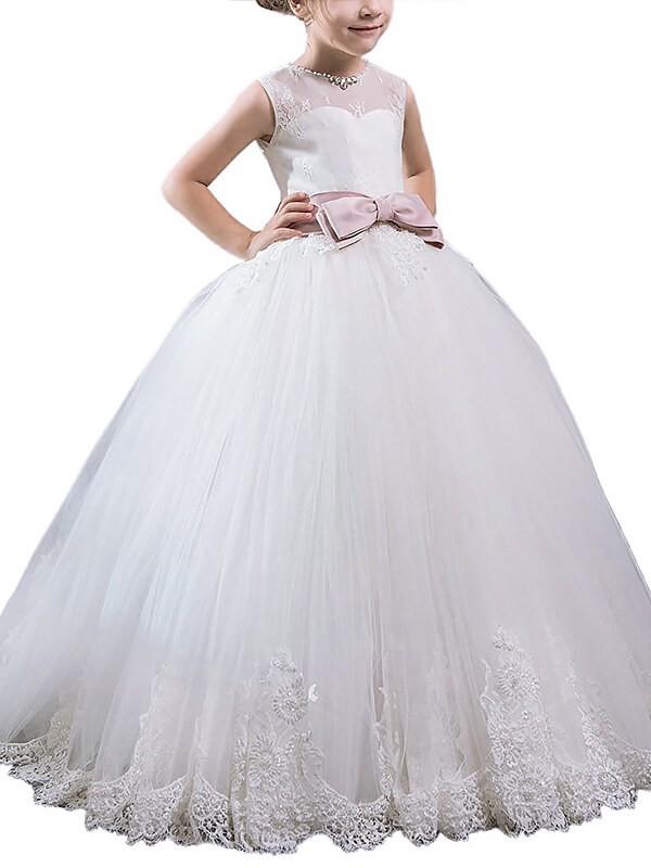 Stylish Refresh Ball Gown Scoop Sash/Ribbon/Belt Floor-Length Tulle Flower Girl Dresses