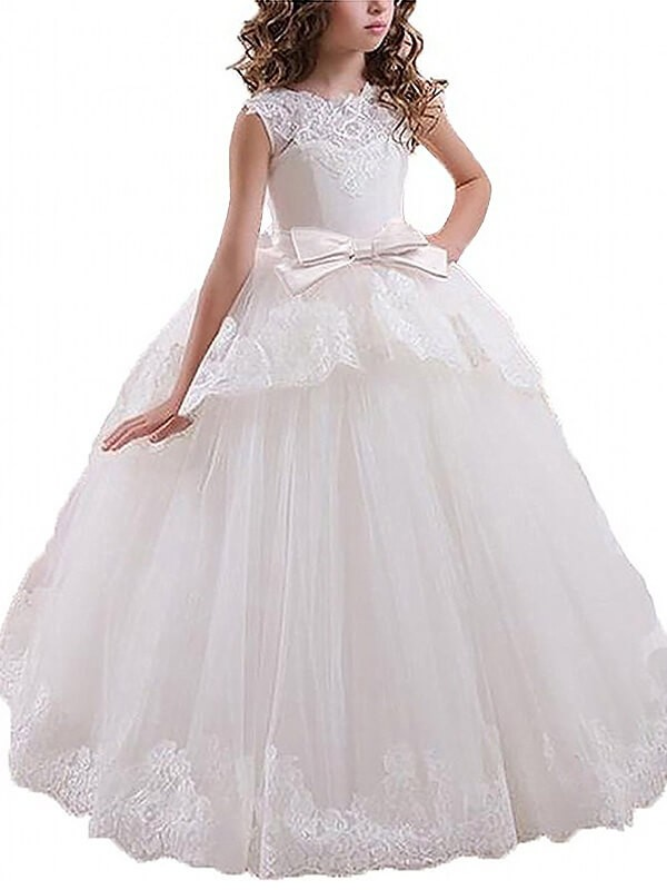 Yours Truly Ball Gown Scoop Sash/Ribbon/Belt Floor-Length Tulle Flower Girl Dresses