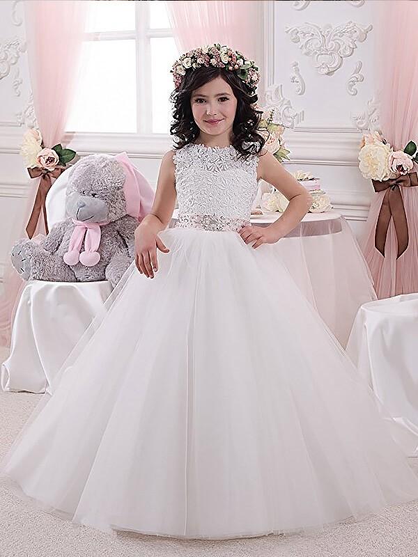 Defined Shine Ball Gown Scoop Sash/Ribbon/Belt Tulle Floor-Length Flower Girl Dresses