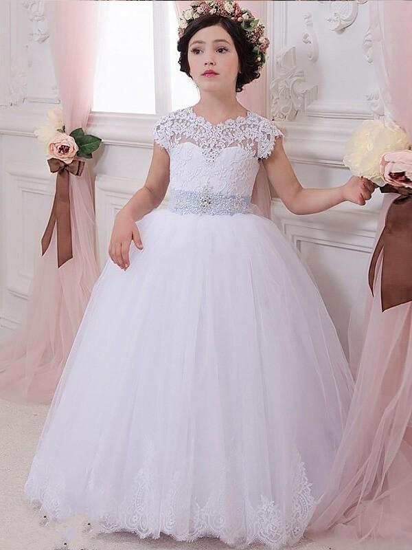Easily Adored Ball Gown Scoop Sash/Ribbon/Belt Floor-Length Tulle Flower Girl Dresses