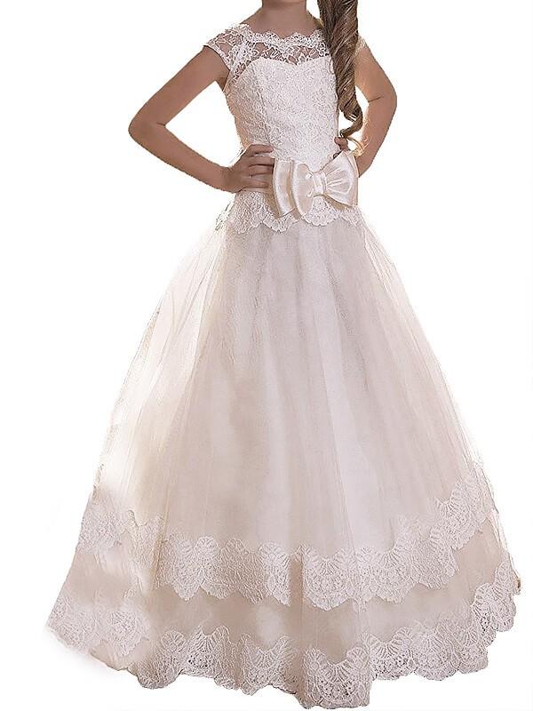 Naturally Chic Princess Style Scoop Sash/Ribbon/Belt Tulle Floor-Length Flower Girl Dresses