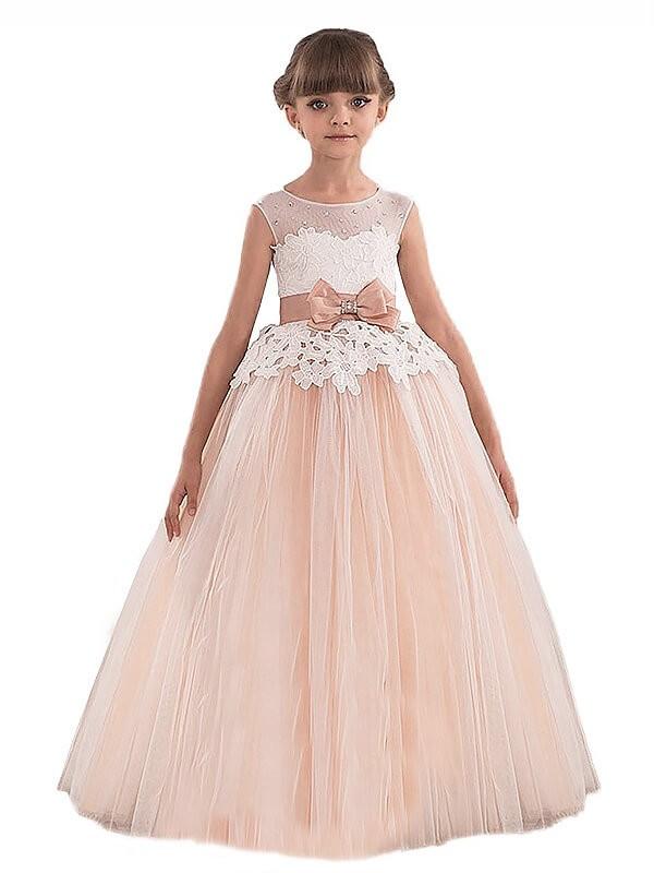 Glitz the Spot Ball Gown Scoop Sash/Ribbon/Belt Tulle Floor-Length Flower Girl Dresses