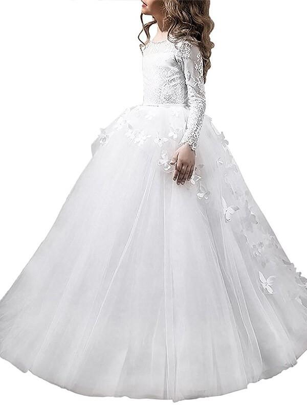 Time to Shine Ball Gown Scoop Floor-Length Tulle Flower Girl Dresses