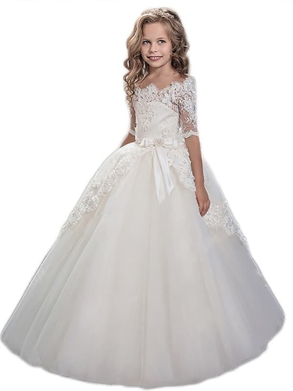 Pleasant Emphasis Ball Gown Off-the-Shoulder Applique Floor-Length Tulle Flower Girl Dresses