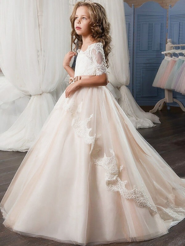 Time to Shine Ball Gown Off-the-Shoulder Tulle Sash/Ribbon/Belt Flower Girl Dresses