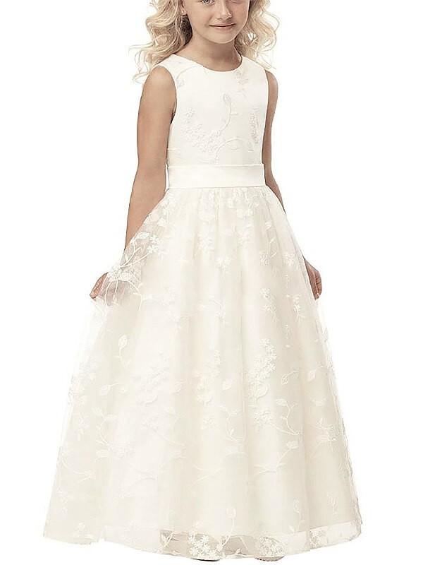 Limitless Looks Princess Style Scoop Applique Tulle Floor-Length Flower Girl Dresses