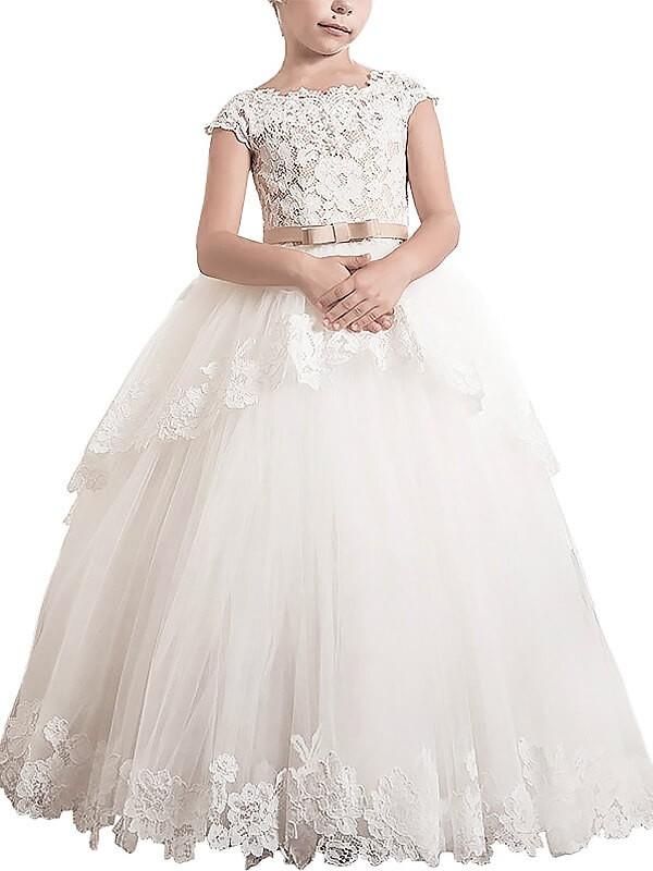 Desired Spotlight Ball Gown Scoop Lace Floor-Length Tulle Flower Girl Dresses