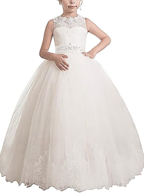 Comfortably Chic Ball Gown Scoop Sash/Ribbon/Belt Floor-Length Tulle Flower Girl Dresses