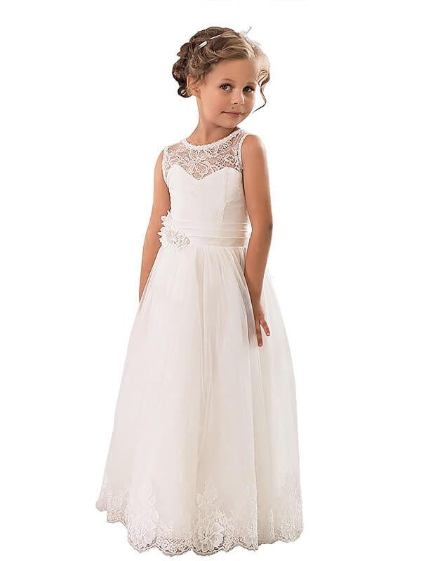 Sweet Sensation Princess Style Scoop Tulle Floor-Length Flower Girl Dresses