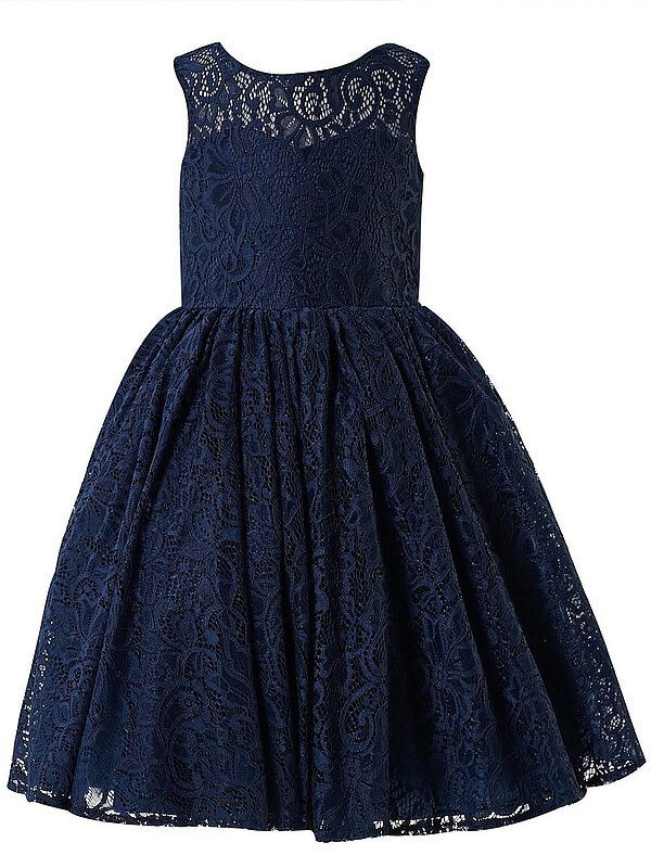 First Impressions Princess Style Scoop Lace Tea-Length Flower Girl Dresses