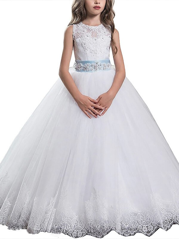 Confident Option Ball Gown Scoop Applique Floor-Length Tulle Flower Girl Dresses