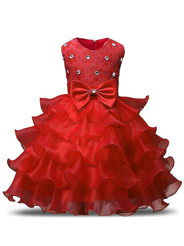 Fabulous Fit Ball Gown Scoop Ruffles Tea-Length Organza Flower Girl Dresses