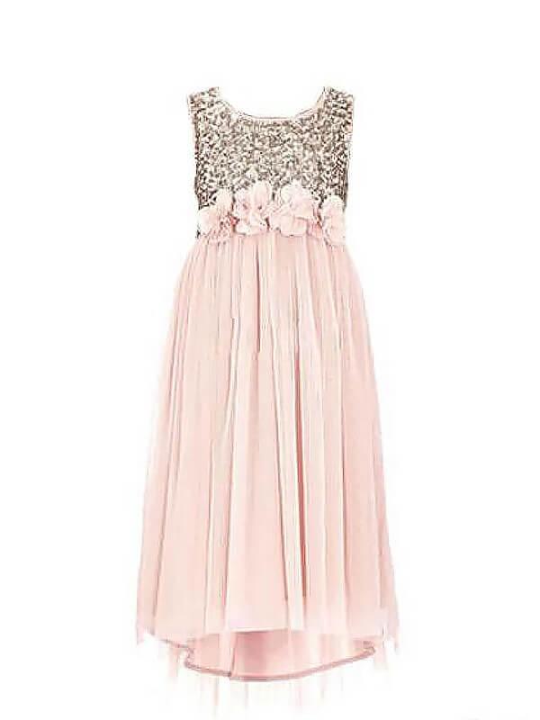 Visual Moment Princess Style Scoop Sequin Chiffon Floor-Length Flower Girl Dresses