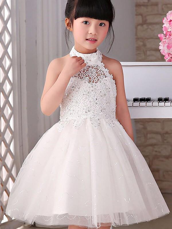 Cheerful Spirit Princess Style Halter Beading Tulle Knee-Length Flower Girl Dresses