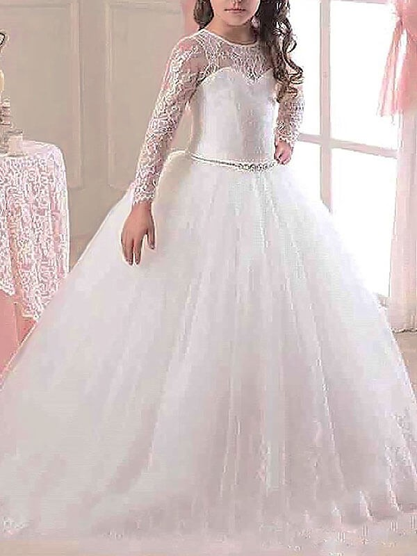 Too Much Fun Ball Gown Scoop Floor-Length Lace Tulle Flower Girl Dresses