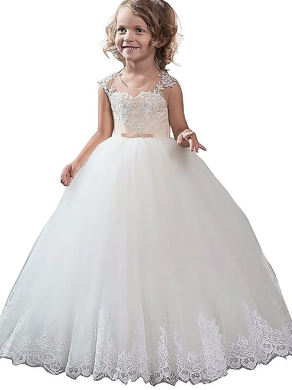 Open to Adoration Ball Gown Scoop Applique Tulle Floor-Length Flower Girl Dresses