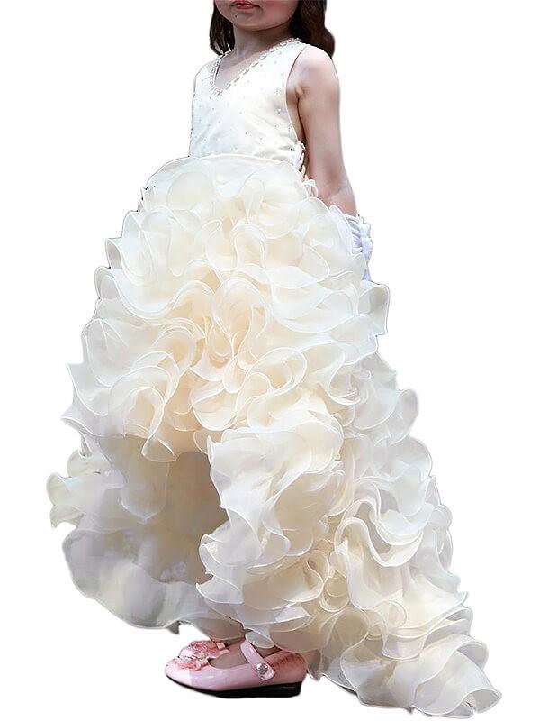 Stylish Refresh Princess Style V-neck Asymmetrical Organza Ruffles Flower Girl Dresses