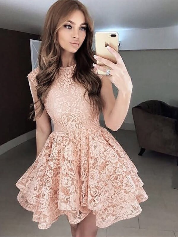 Yours Truly Princess Style Scoop Lace Short/Mini Dresses