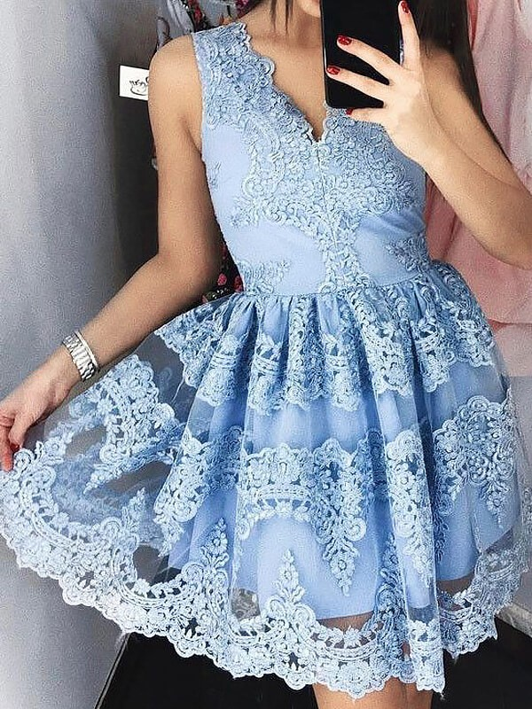 Romantic Vibes Princess Style V-neck Short/Mini Lace Dresses