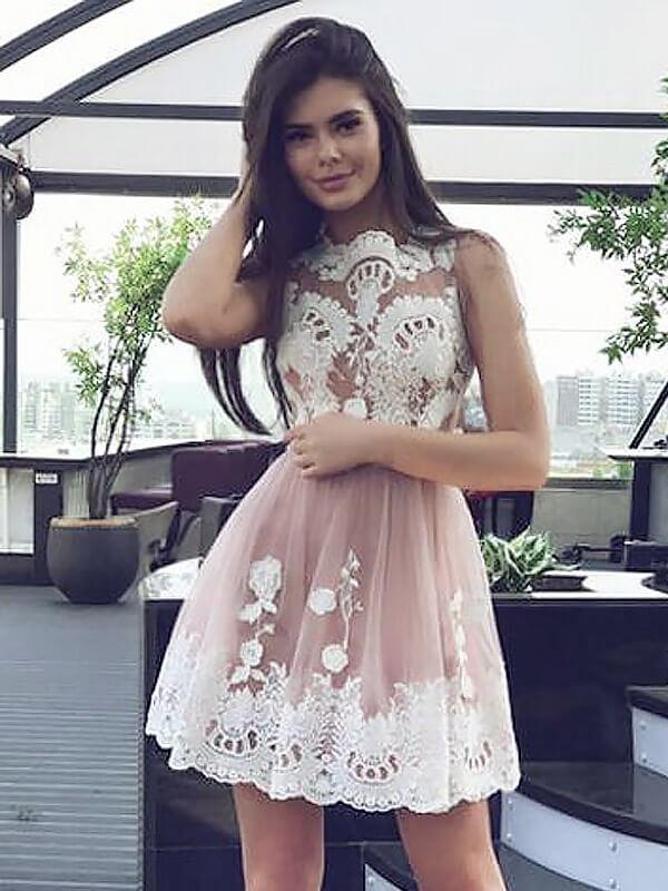 Dashing Darling Princess Style Scoop Lace Short/Mini Chiffon Dresses