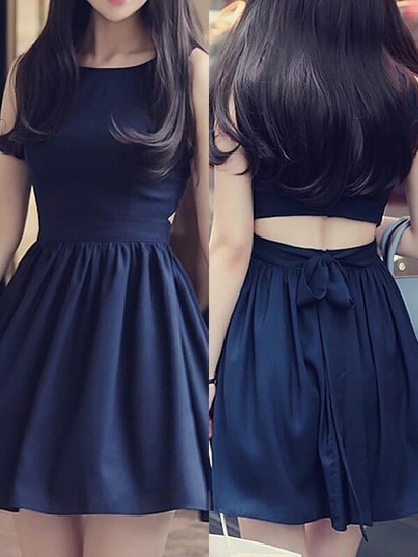 Befits Your Brilliance Princess Style Scoop Short/Mini Chiffon Dresses