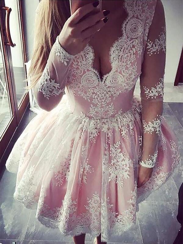 Eye-Catching Charm Princess Style V-neck Lace Short/Mini Dresses