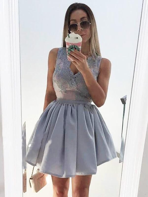 Pleasant Emphasis Princess Style V-neck Applique Short/Mini Satin Dresses