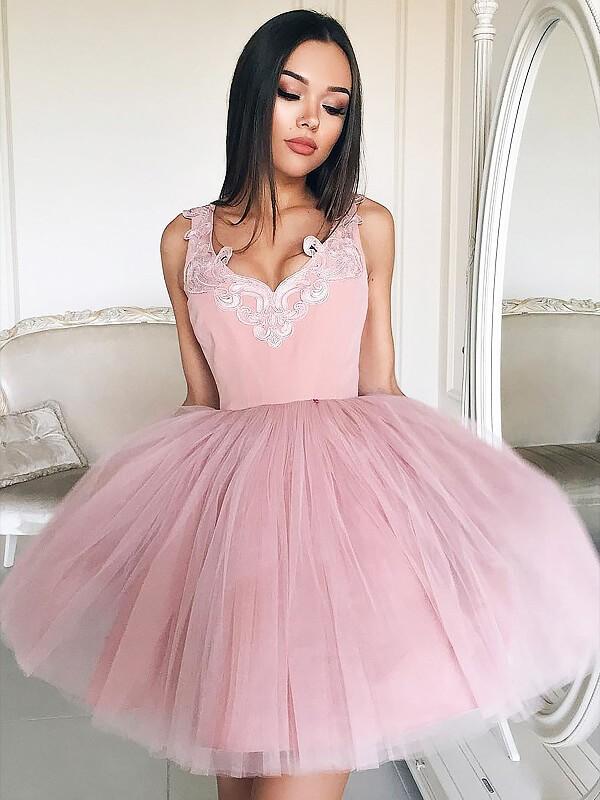 Treasured Reveries Princess Style V-neck Tulle Short/Mini Dresses