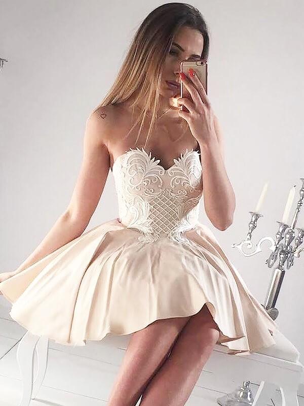 Comfortably Chic Princess Style Sweetheart Applique Short/Mini Satin Dresses