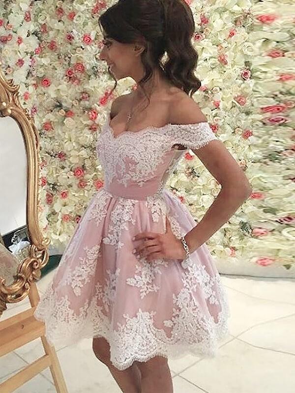 Creative Courage Princess Style Off-the-Shoulder Applique Short/Mini Tulle Dresses