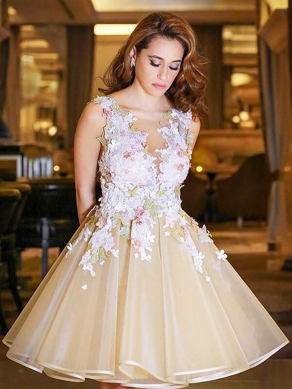 Efflorescent Dreams Princess Style Scoop Applique Short/Mini Organza Dresses
