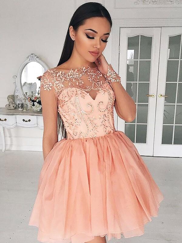 Voiced Vivacity Princess Style Bateau Short/Mini Applique Chiffon Dresses