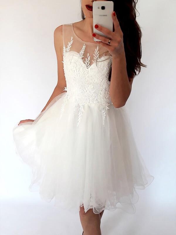 Festive Self Princess Style Scoop Tulle Short/Mini Dresses