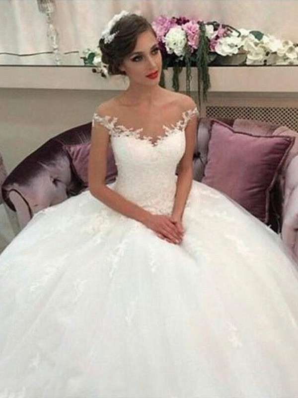 Confident Option Ball Gown Off-the-Shoulder Court Train Tulle Wedding Dresses
