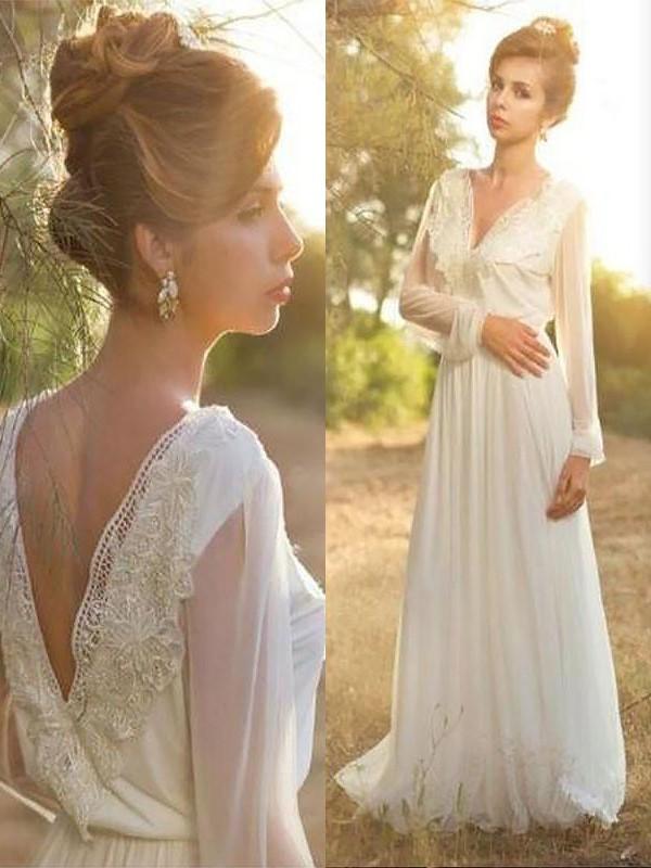 Too Much Fun Princess Style V-neck Lace Chiffon Sweep/Brush Train Wedding Dresses