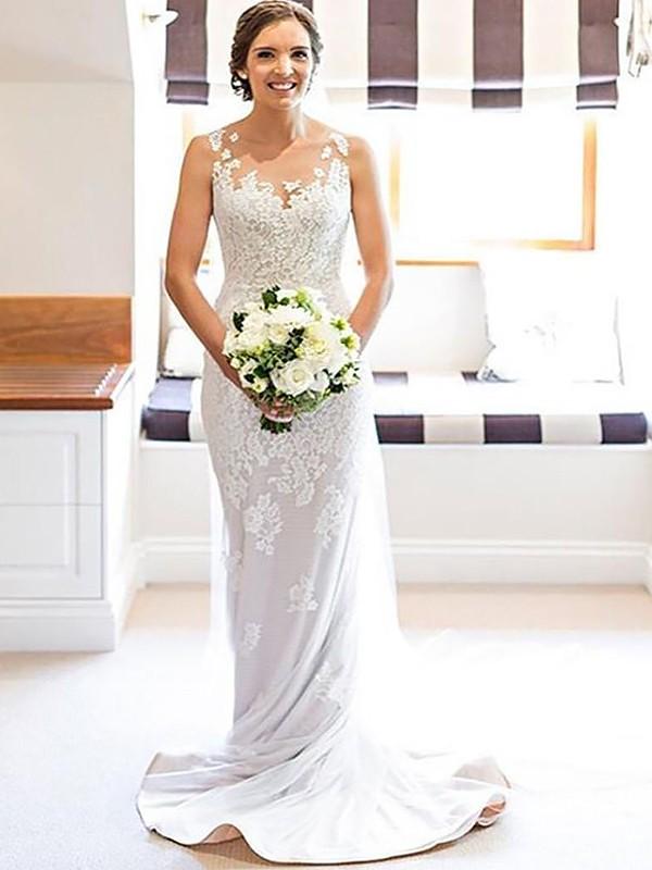 Memorable Magic Sheath Style Scoop With Applique Lace Court Train Wedding Dresses