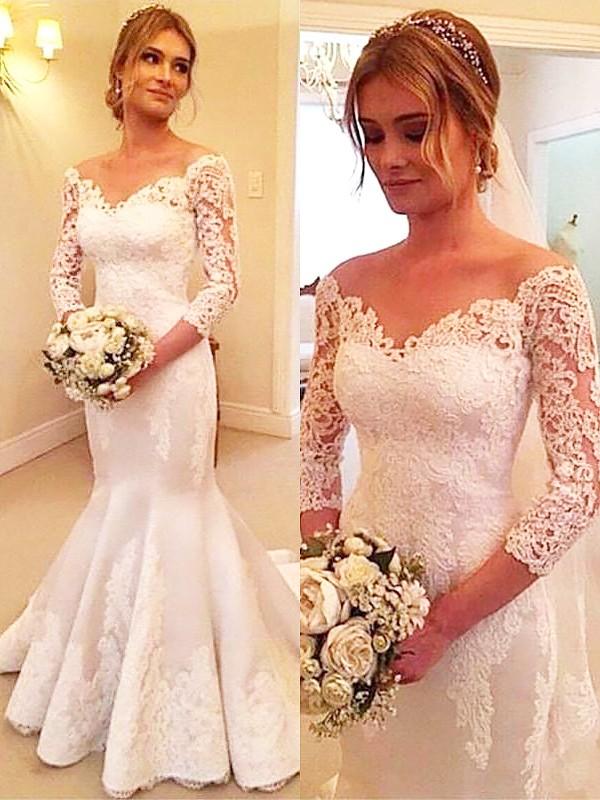 Stylish Refresh Mermaid Style Satin Off-the-Shoulder Lace Court Train Wedding Dresses
