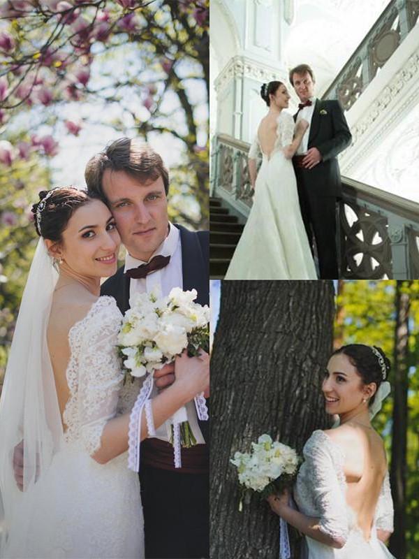 Lively Identity Sheath Style Sweep/Brush Train V-neck Lace Wedding Dresses