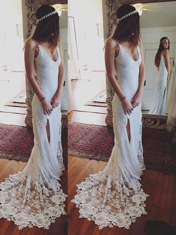 Beautiful You Sheath Style Straps Lace Court Train Wedding Dresses