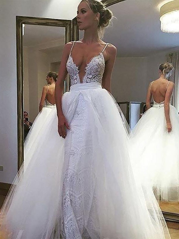 Savor the Occasion Princess Style Tulle Lace Spaghetti Straps Floor-Length Wedding Dresses