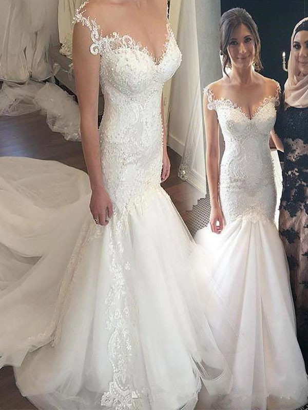 Eye-Catching Charm Mermaid Style Off-the-Shoulder Chapel Train Lace Tulle Wedding Dresses