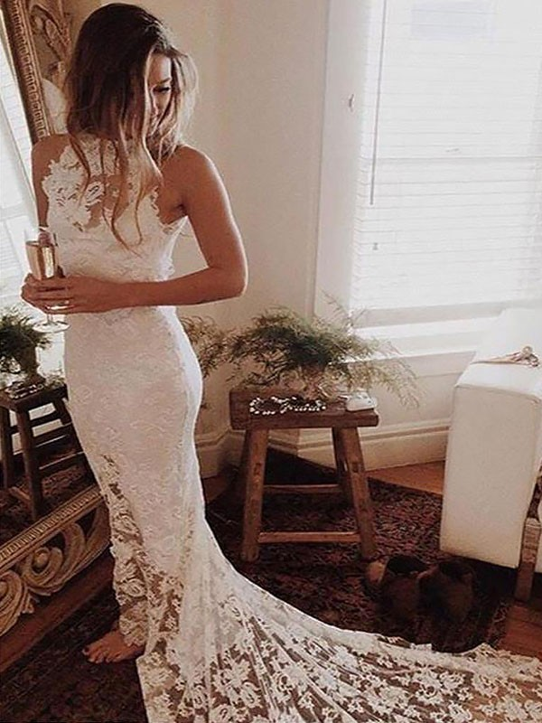 Absolute Lovely Mermaid Style Halter Lace Chapel Train Wedding Dresses