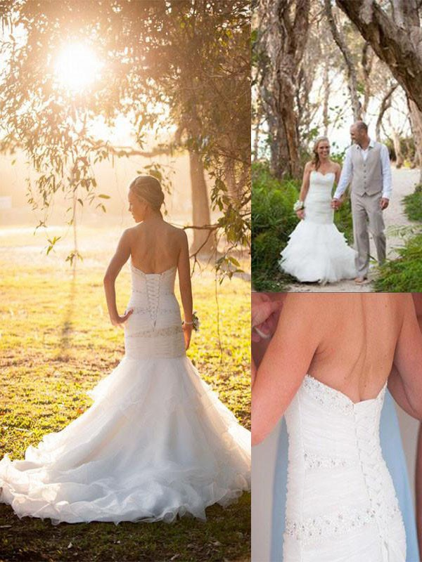 Aesthetic Honesty Mermaid Style Sweetheart Court Train Tulle Wedding Dresses