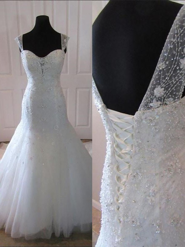 Time to Shine Mermaid Style Tulle Court Train Straps Wedding Dresses