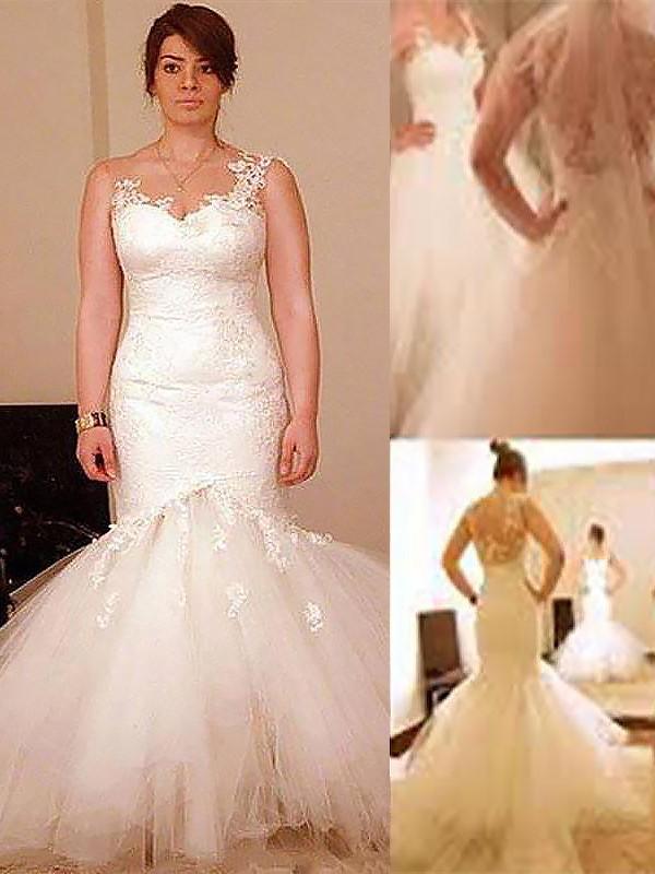 Treasured Reveries Mermaid Style Floor-Length Tulle Straps Wedding Dresses