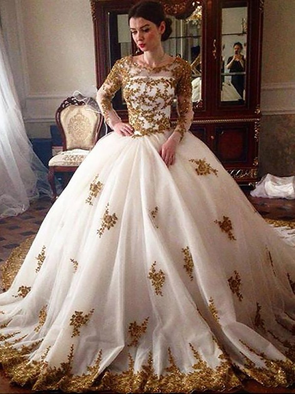Efflorescent Dreams Ball Gown Court Train Scoop Tulle Wedding Dresses
