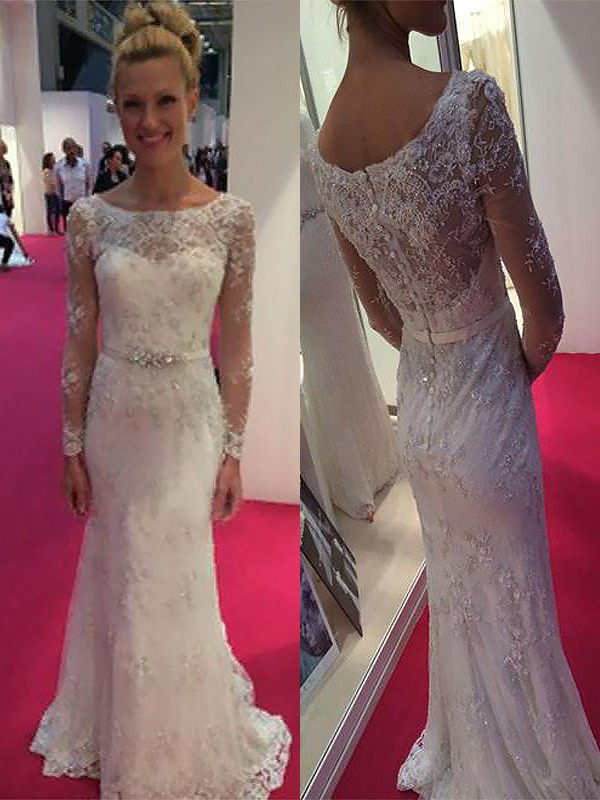 Confident Option Sheath Style Scoop Lace Chiffon Sweep/Brush Train Wedding Dresses