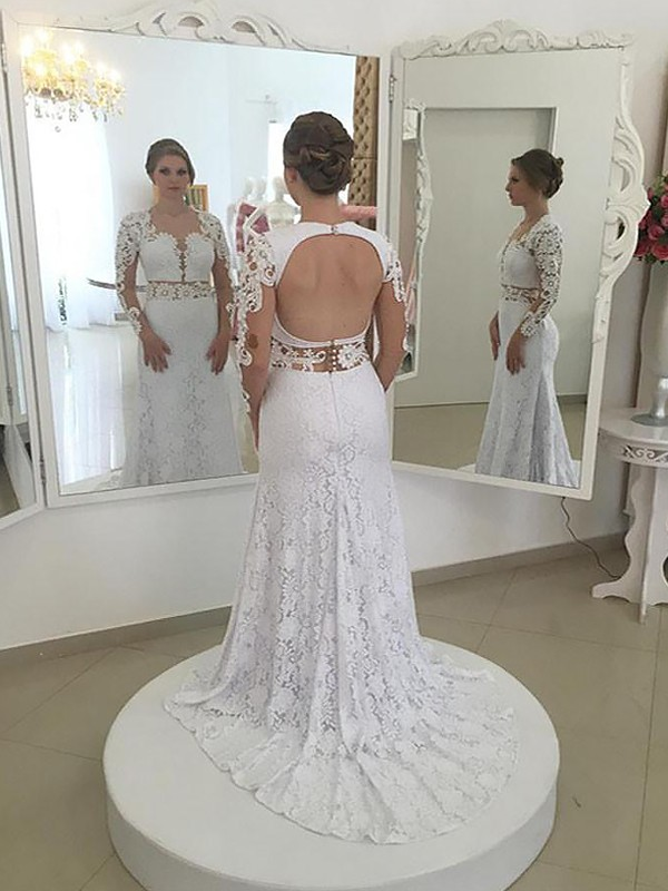 Fabulous Fit Sheath Style Lace Scoop Sweep/Brush Train Wedding Dresses