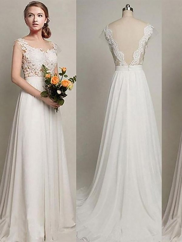 Cheerful Spirit Princess Style Chiffon Scoop Sweep/Brush Train Wedding Dresses