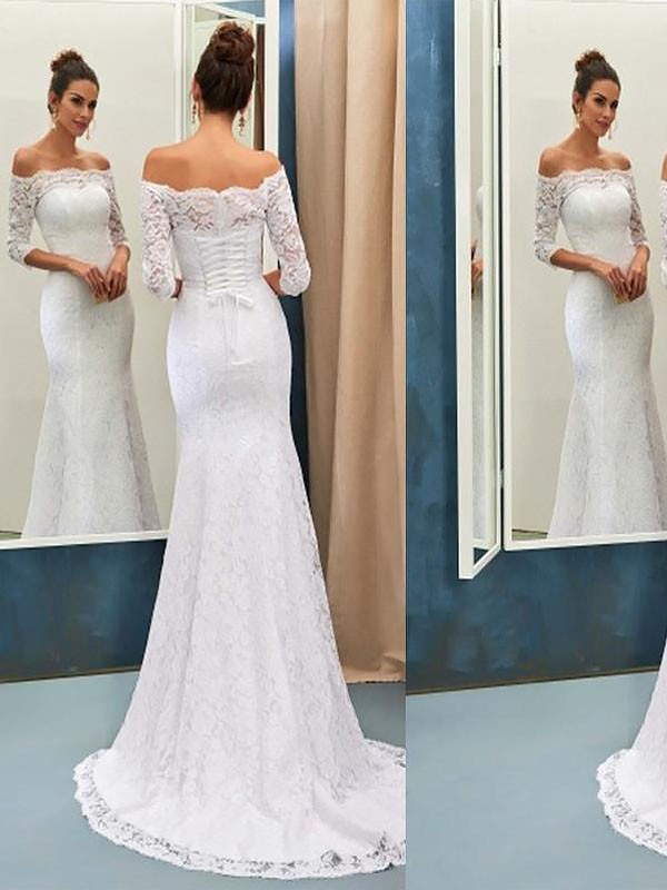 Dancing Queen Mermaid Style Off-the-Shoulder Sweep/Brush Train Lace Wedding Dresses